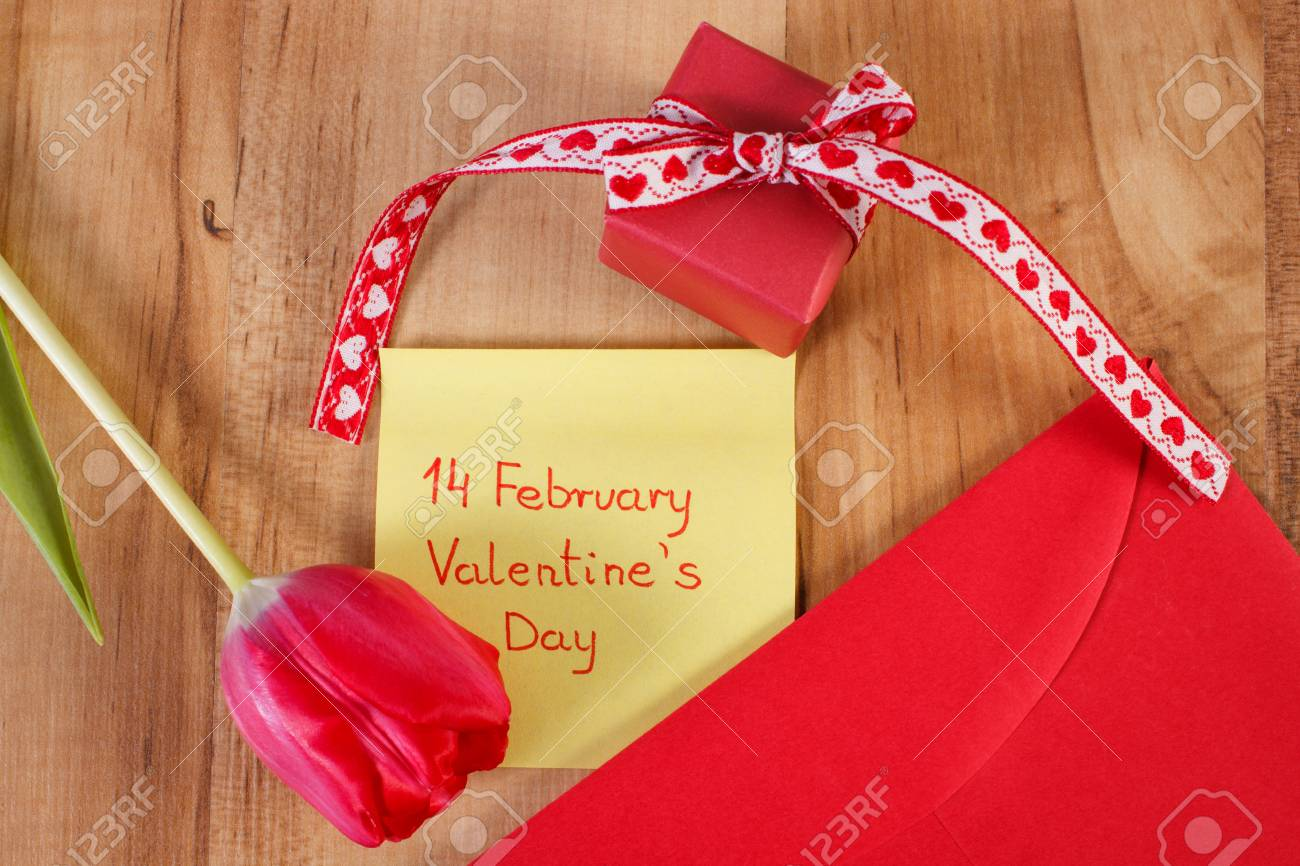 Valentines Day And Date Of February 14 Written On Sheet Of Paper