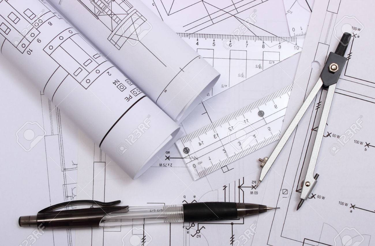 Rolls Of Electrical Diagrams And Accessories For Drawing Lying Draw On Construction House Drawings