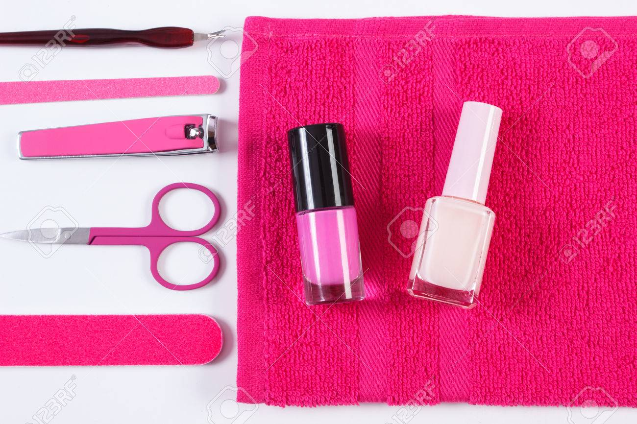 Cosmetics And Set Of Manicure Or Pedicure Tools, Nail File, Nail ...