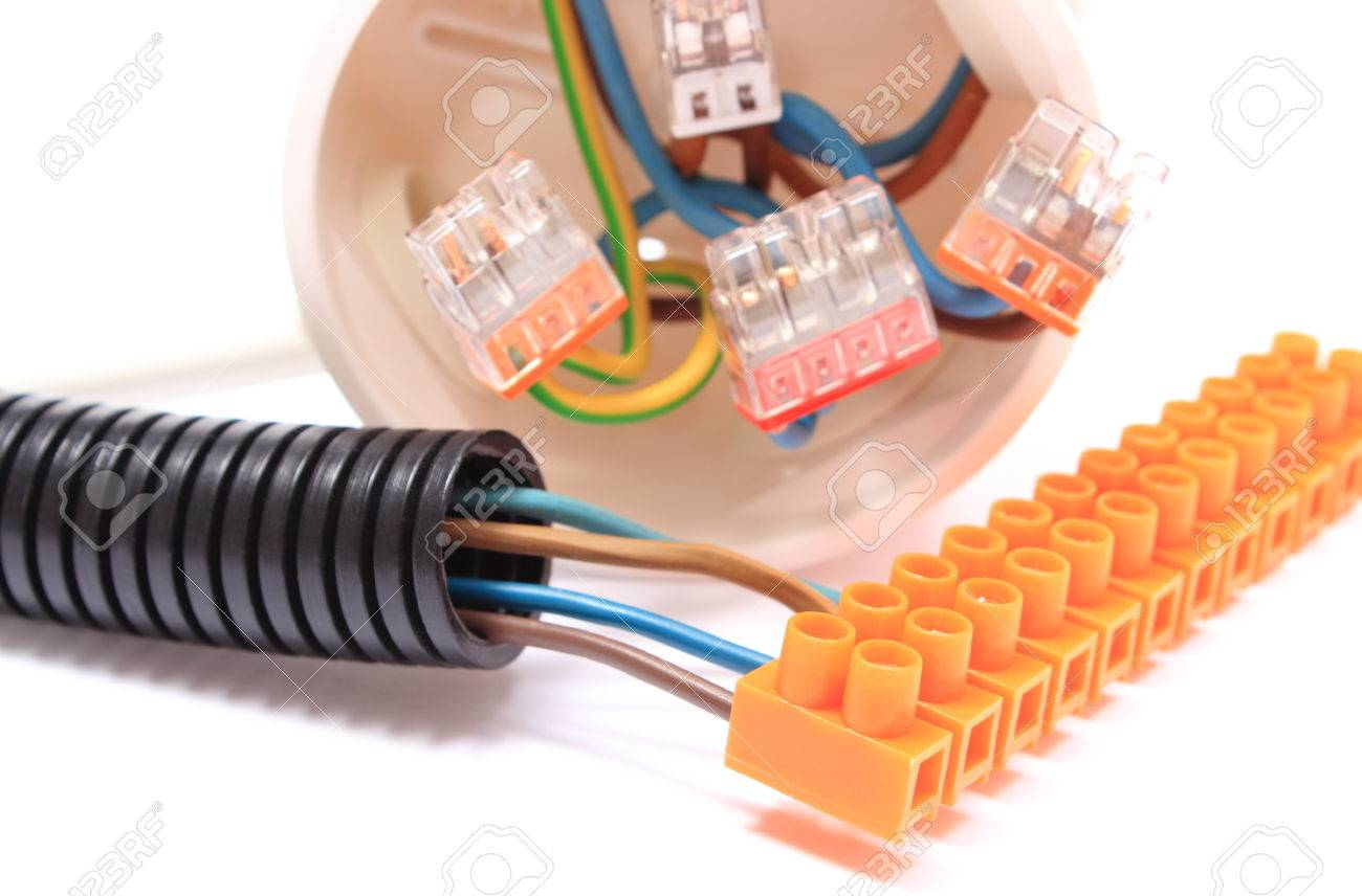 Corrugated Plastic Pipe Copper Wire Connections In Electrical Box And Components For Use
