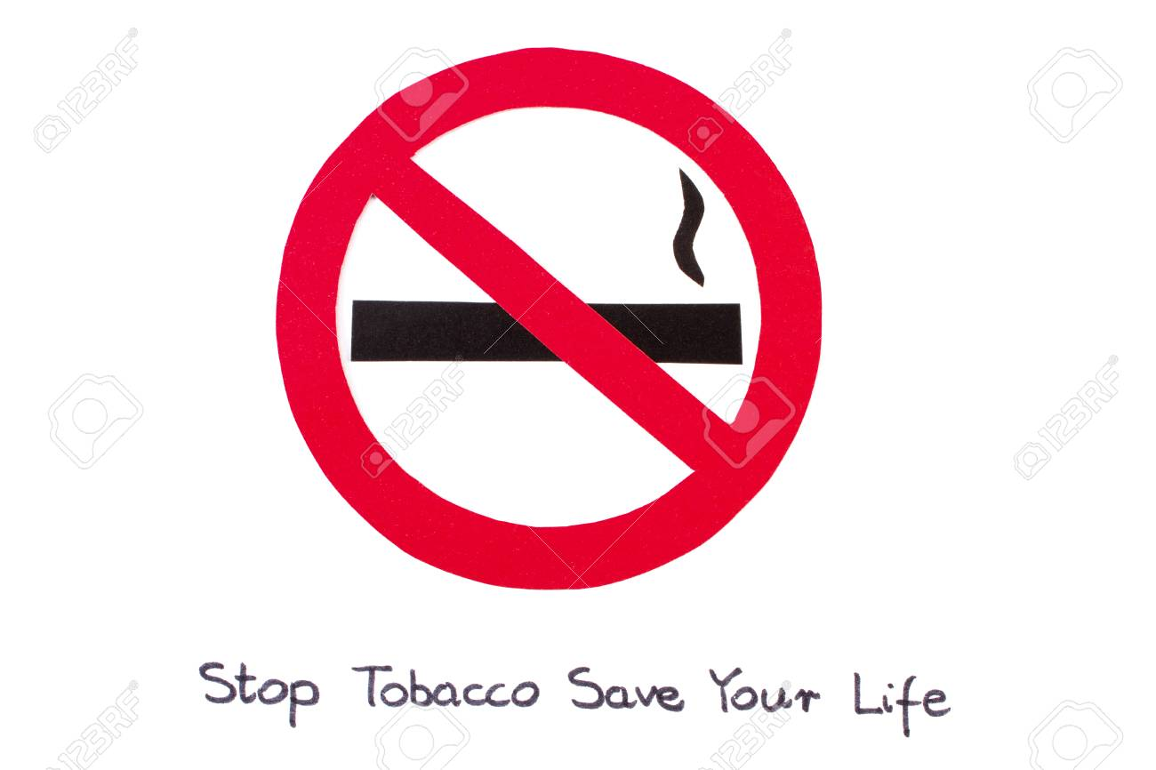 Red no smoking sign made of paper with inscription stop tobacco red no smoking sign made of paper with inscription stop tobacco save your life symbol buycottarizona Images