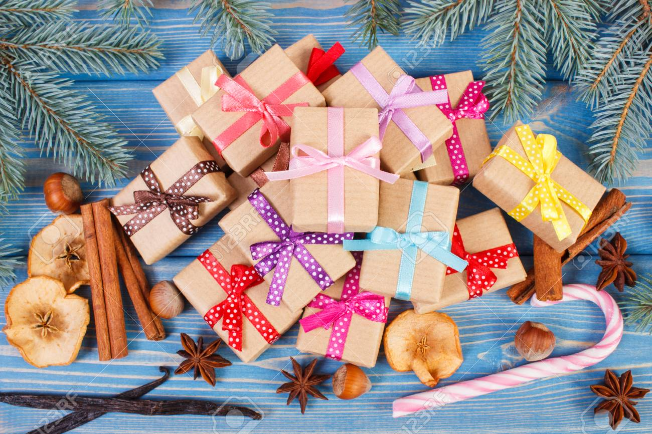 Wrapped Gifts With Colorful Ribbons For Christmas Or Other ...