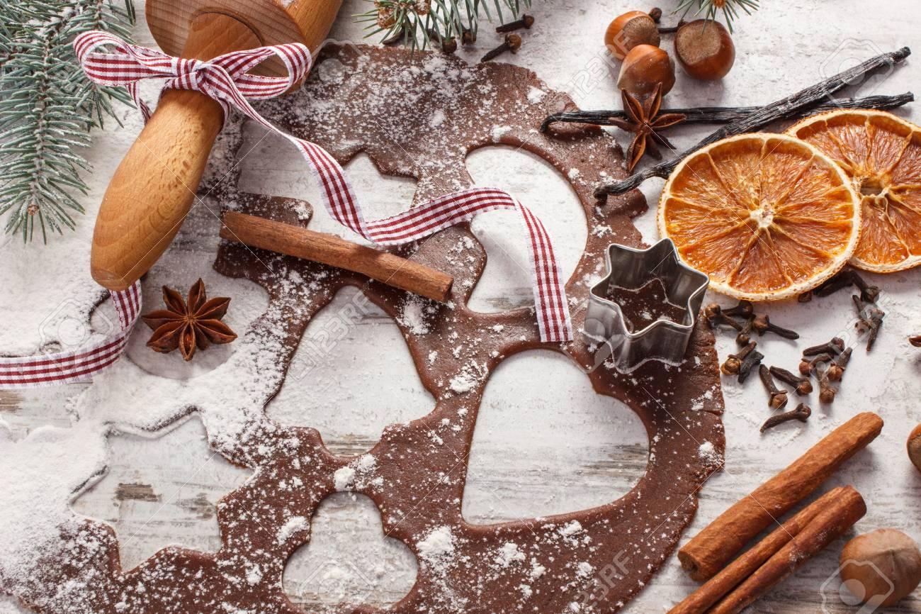 Weihnachtsplätzchen Zutaten.Stock Photo