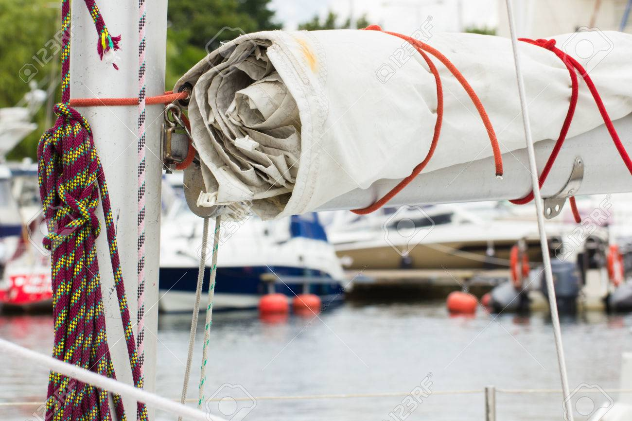 Yachting, Parts Of Sailboat In Port Of Sailing, Coiled Rope