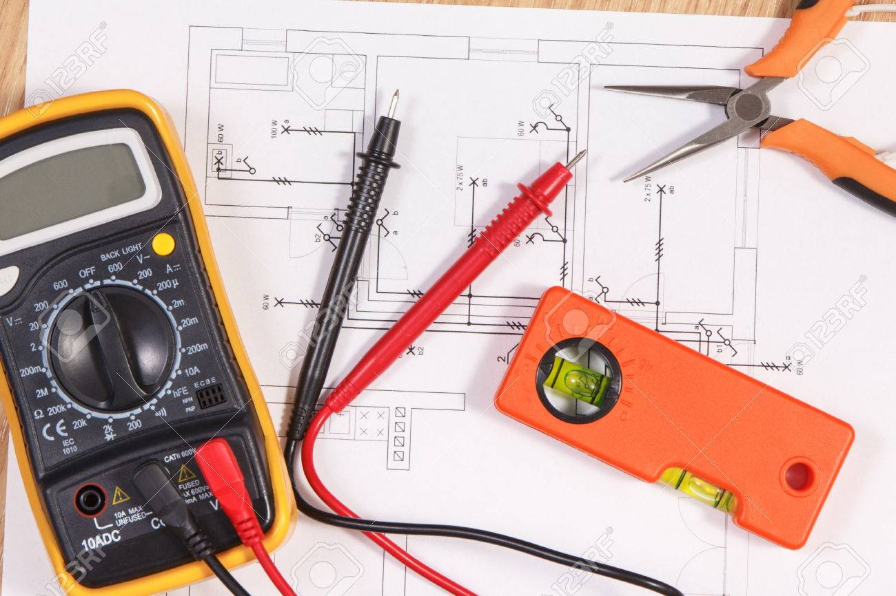Electrical construction blueprint or diagrams multimeter for electrical construction blueprint or diagrams multimeter for measurement in electrical installation and accessories for engineer malvernweather Image collections