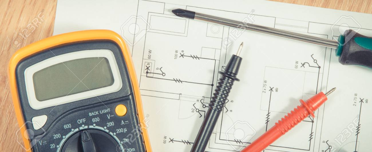 Electrical Construction Blueprint, Drawings Or Diagrams, Multimeter ...