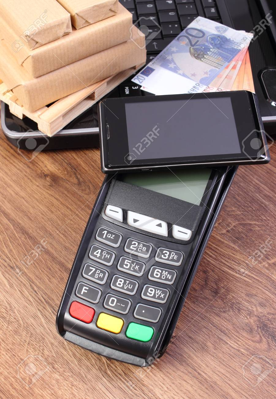 credit card reader with mobile phone with nfc technology currencies euro laptop and small - Credit Card Swiper For Phone