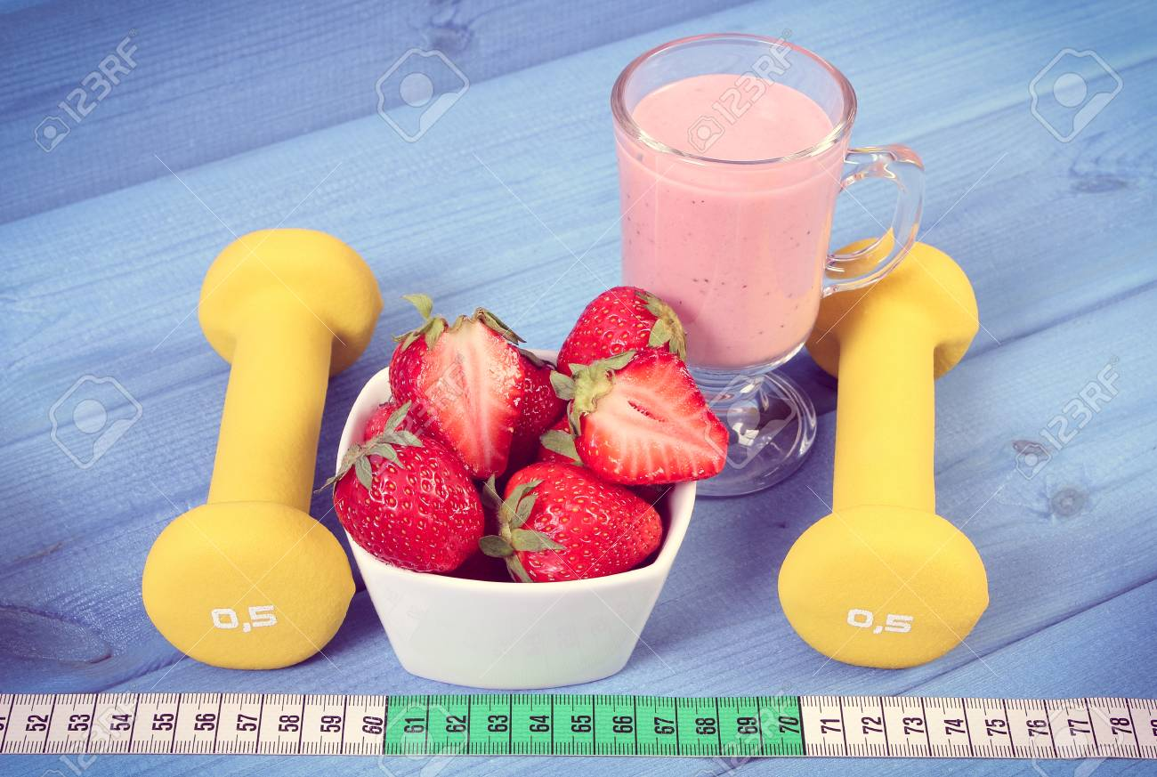 Vintage Photo Ripe Strawberries Cup Of Delicious Milkshake