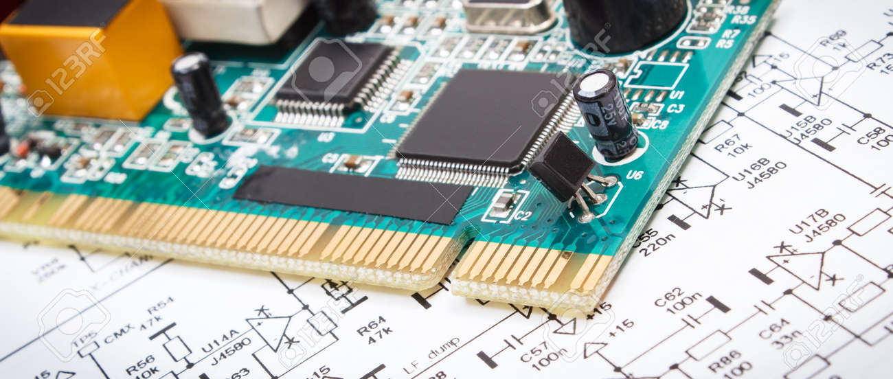 Printed circuit board with transistors, resistors, capacitor. Diagram of electronics. Technology - 168775691