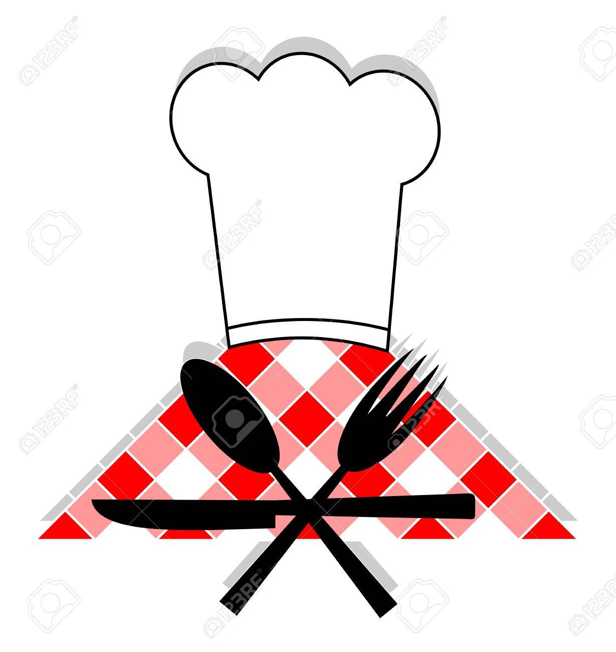Hat cooking, spoon, fork and knives Stock Vector - 9425747