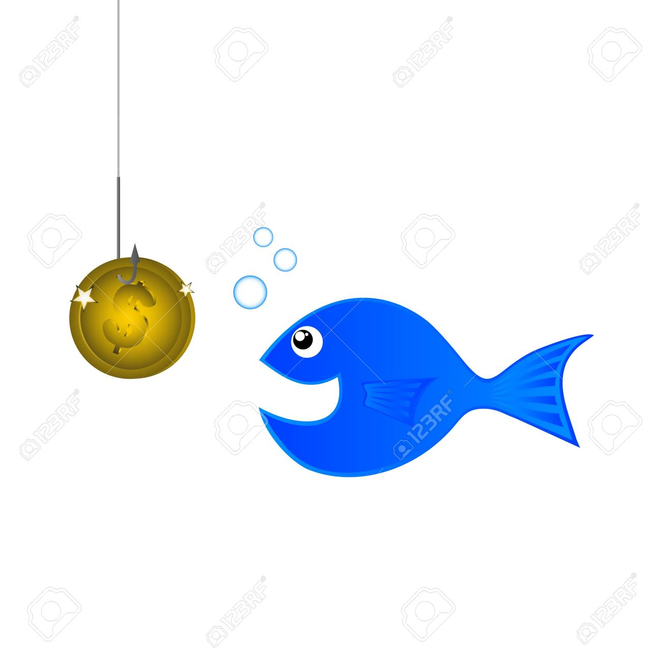 Trying to fish using a gold coin Stock Vector - 9425231