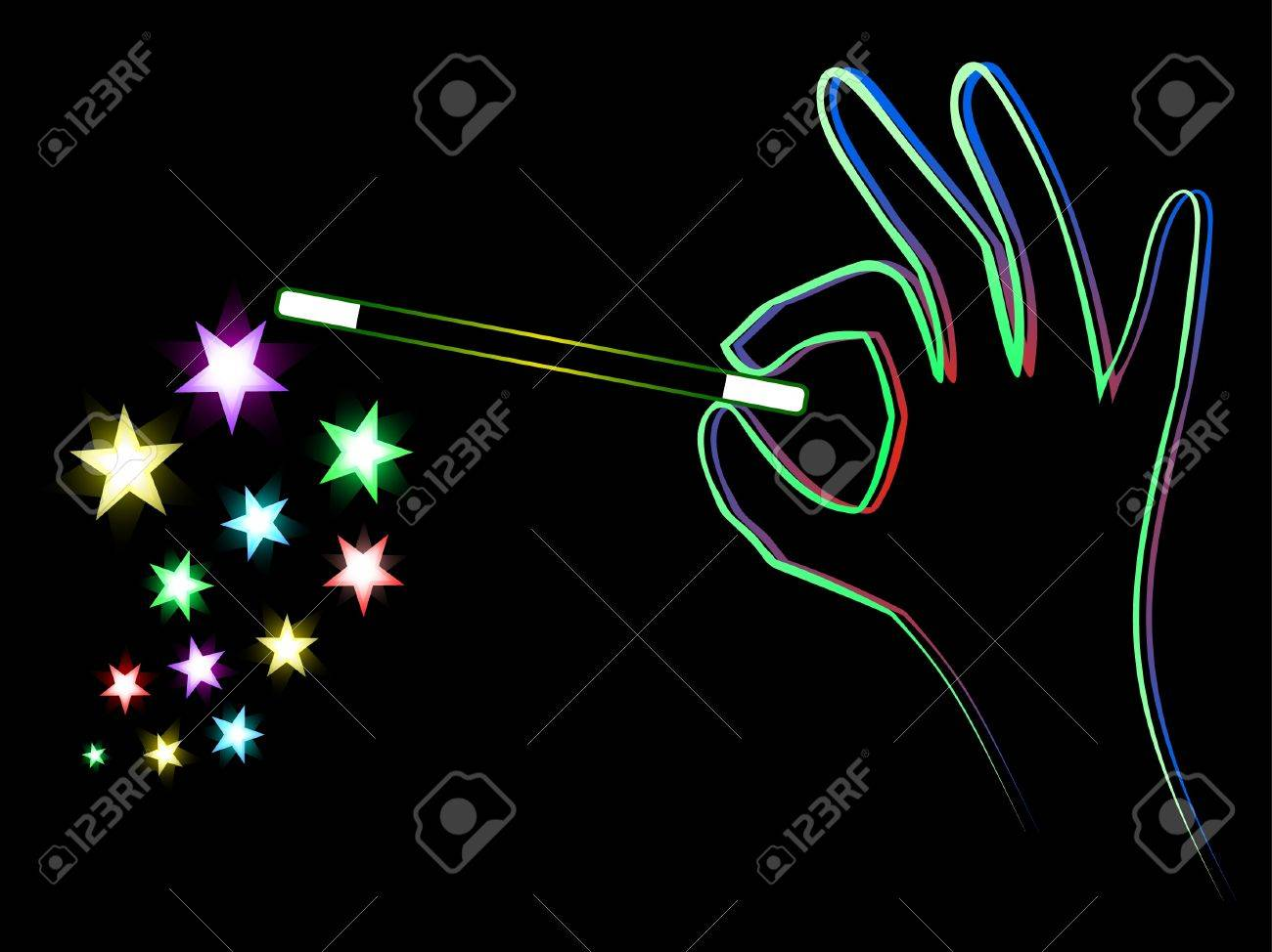 Hand with wand doing a trick Stock Vector - 9461374