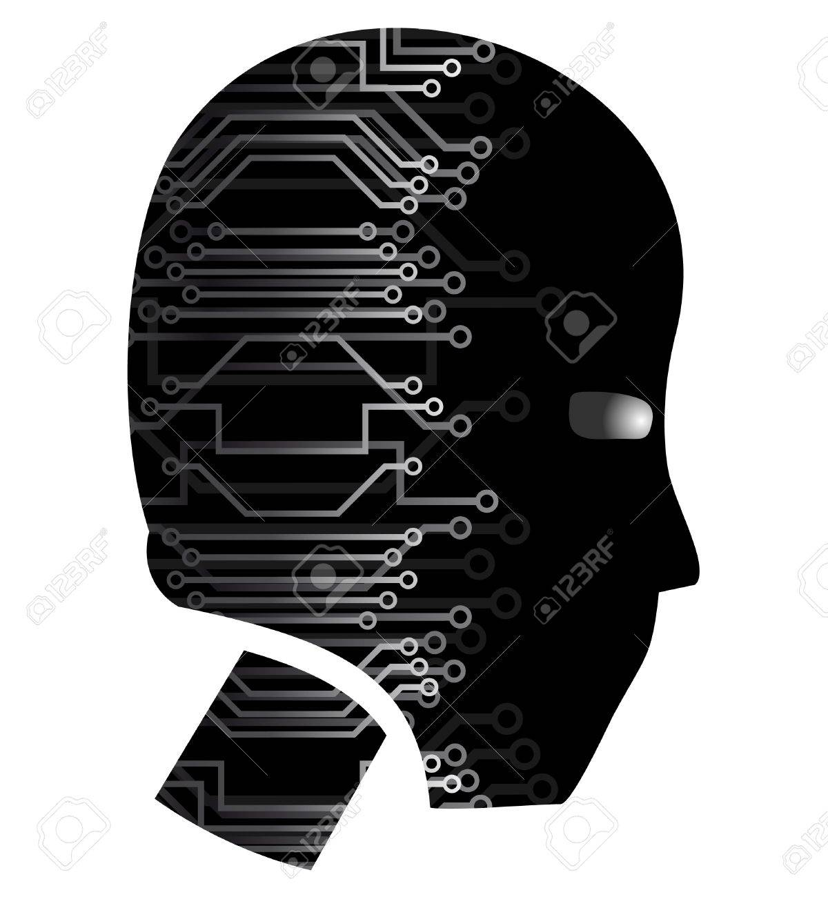 Human head with wiring technology Stock Vector - 9513102