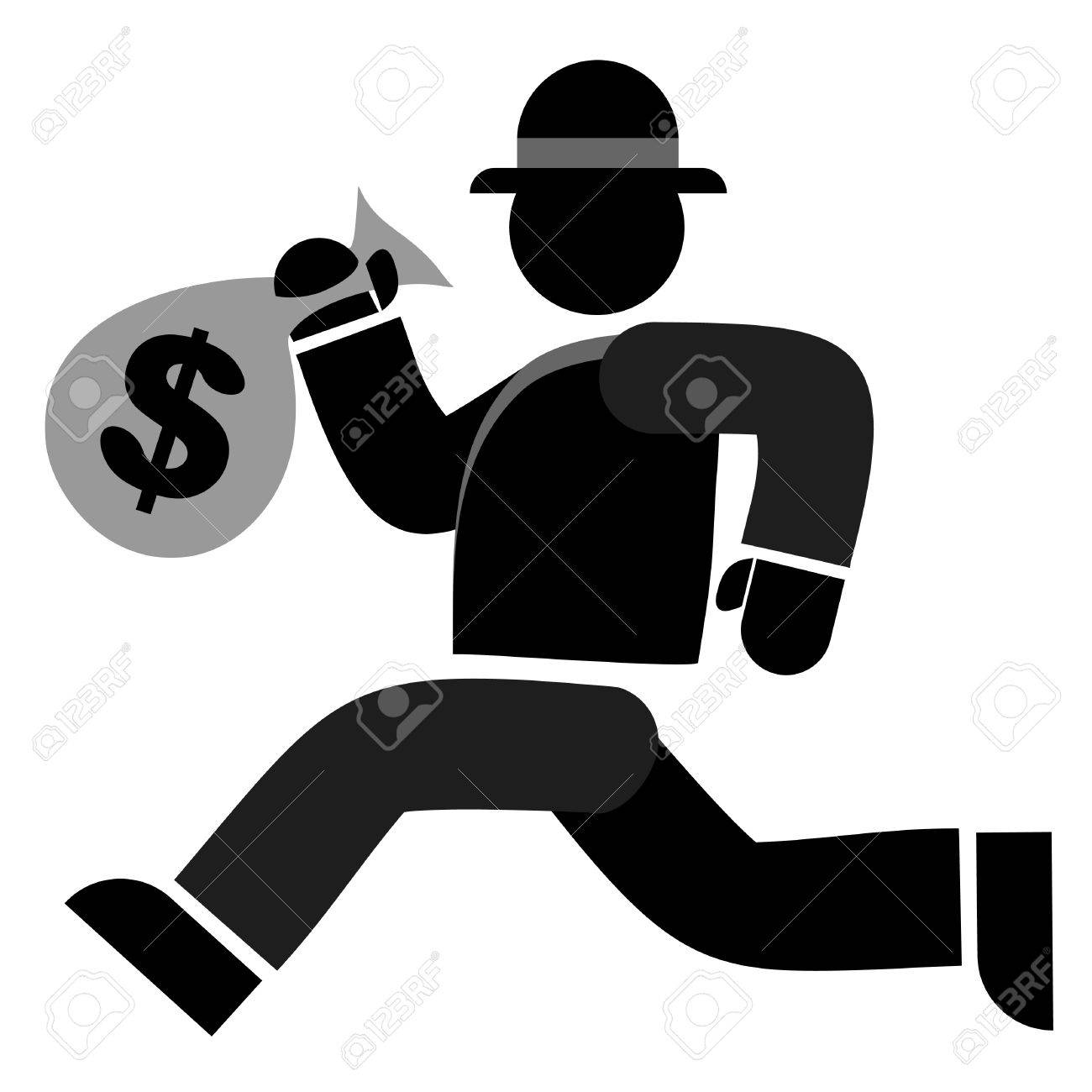Thief Running With Money Running With a Bag of Money