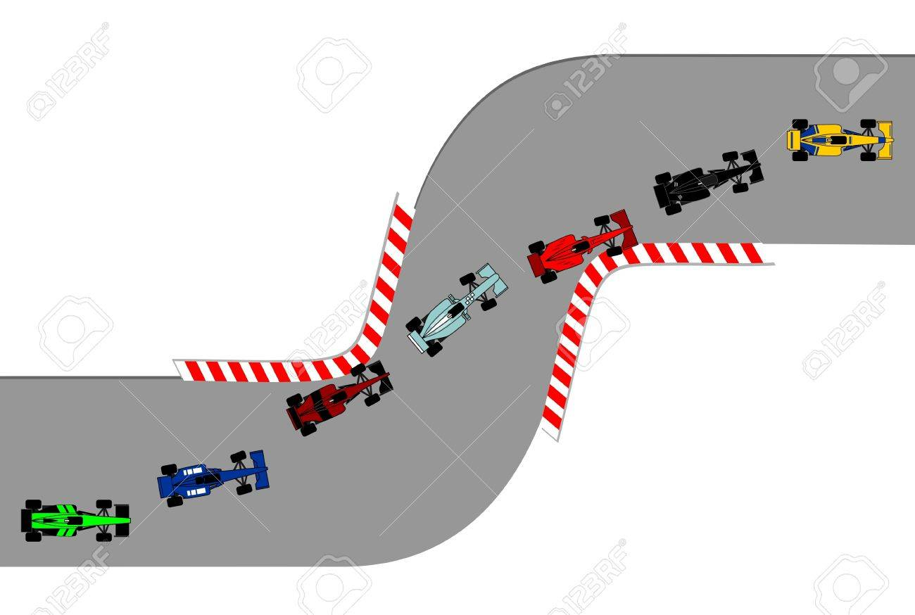 Race cars running on a circuit Stock Vector - 9553493
