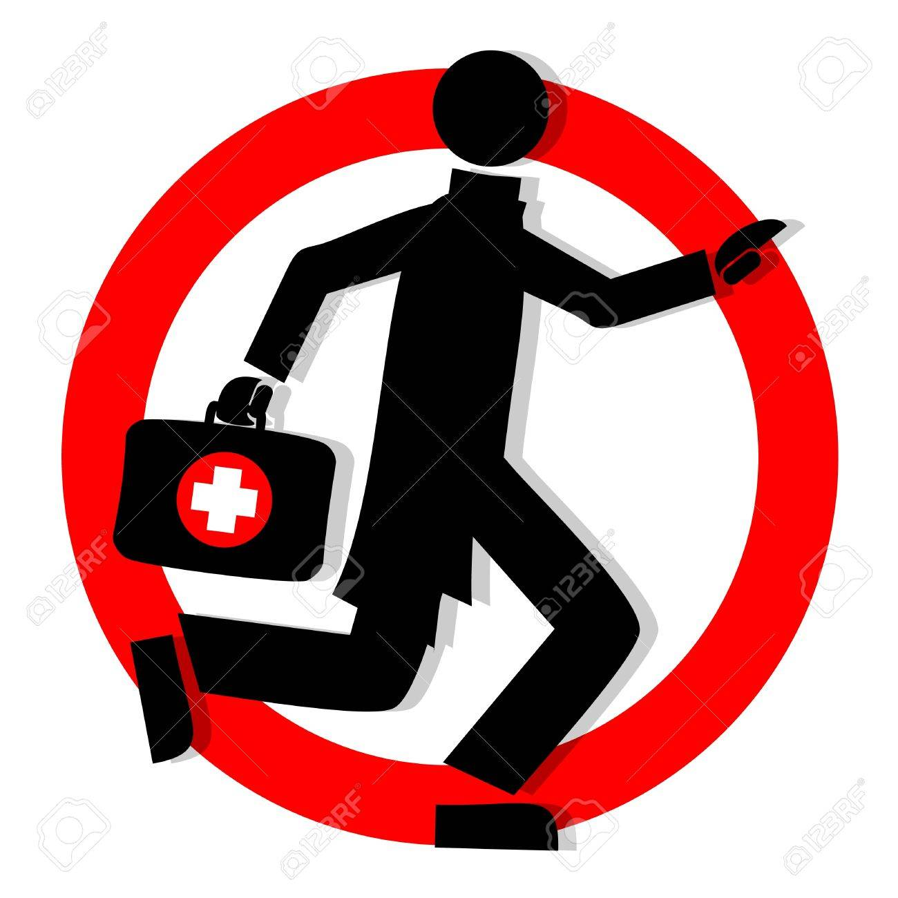 circular sign with a picture of a doctor running Stock Vector - 9560227