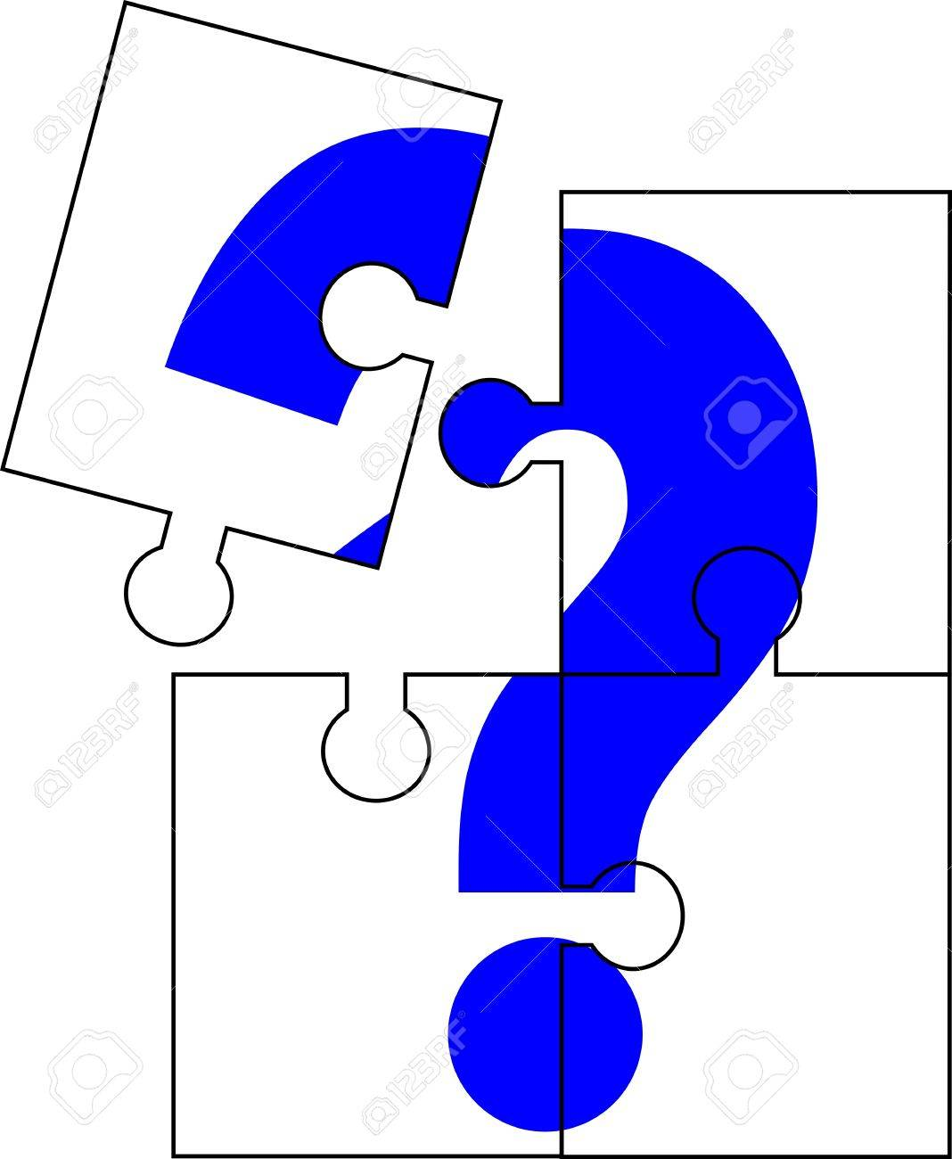 Puzzle Of Four Parts Forming A Question Mark Royalty Free Cliparts ...