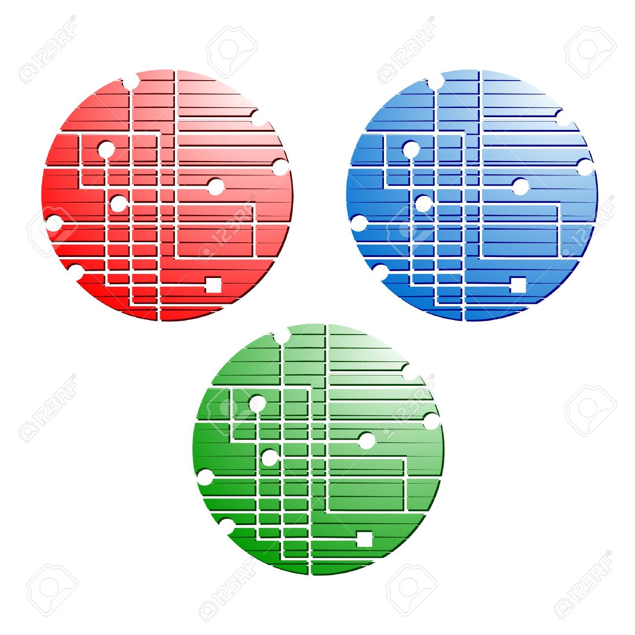 Three buttons with creative design Stock Vector - 9698409