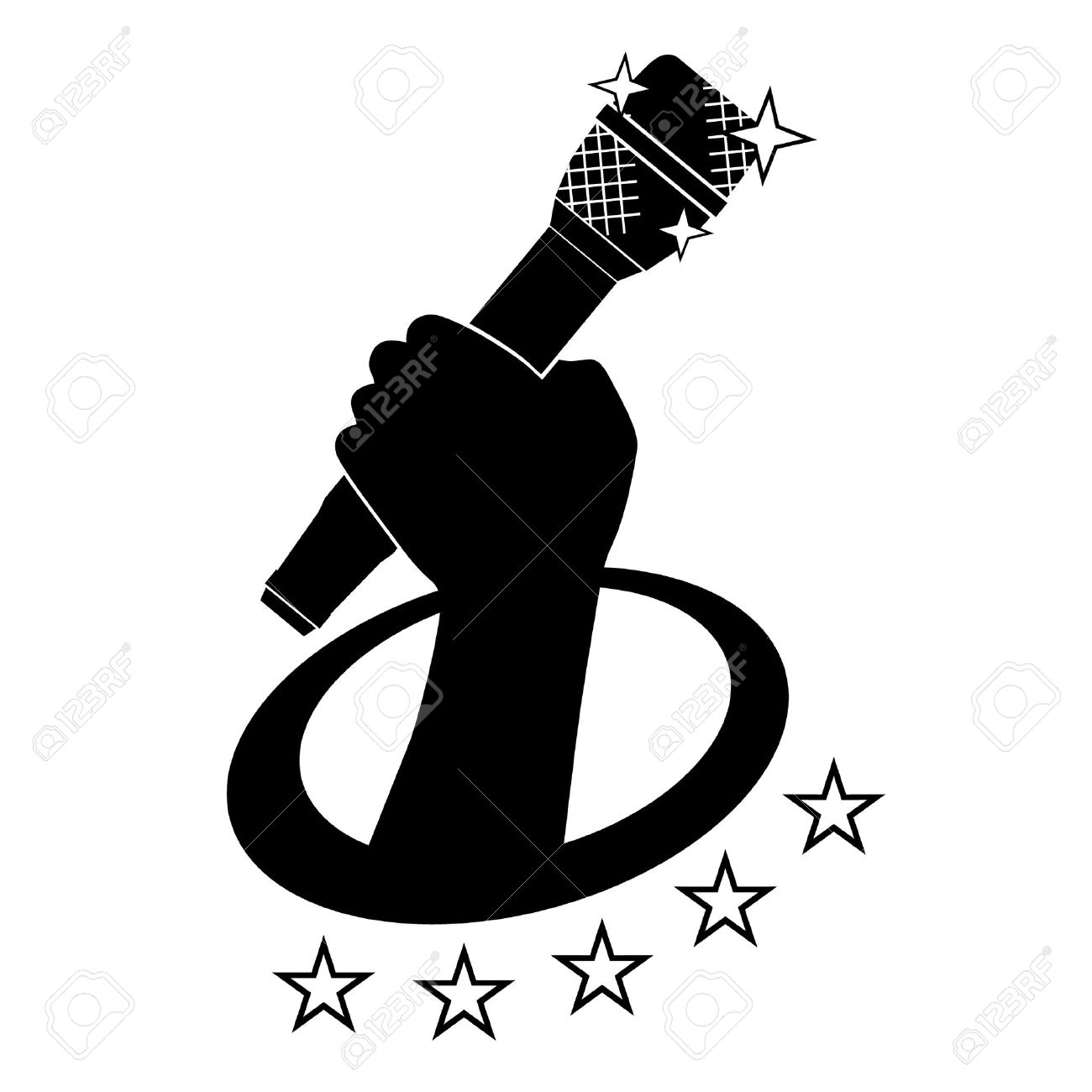 Emblem of hand holding microphone Stock Vector - 10375254