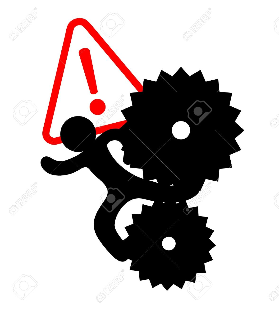 Drawing of a worker trapped in machinery Stock Vector - 10586373