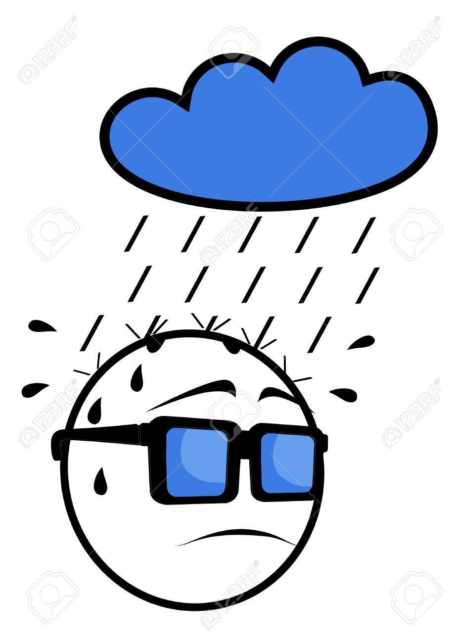 Face in the rain Stock Vector - 10586397