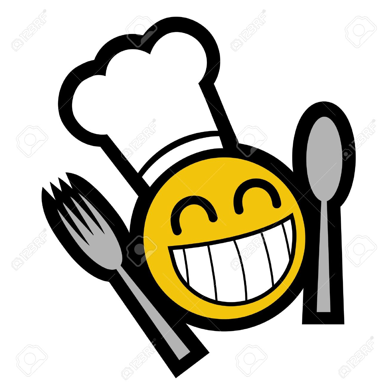 drawing smiley face with eating utensils royalty free cliparts rh 123rf com Sick Smiley-Face Love Smiley Face Clip Art