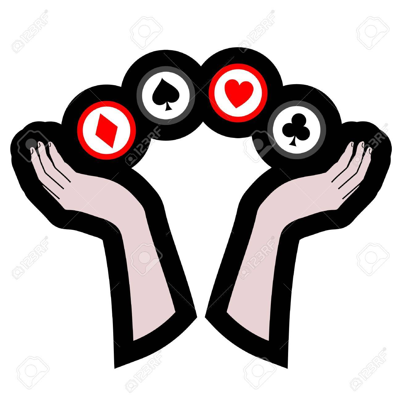 Poker Symbols Supported By Two Hands Royalty Free Cliparts Vectors