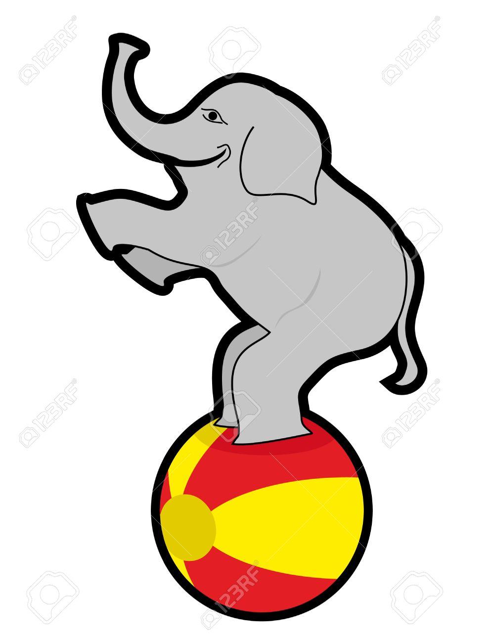 Elephant Balancing On A Ball Royalty Free Cliparts, Vectors, And ...