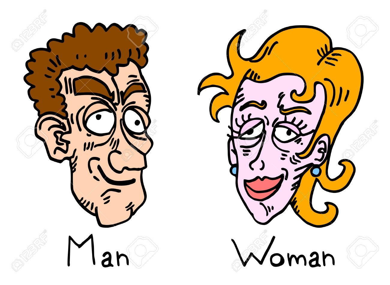comic draw of ugly man and woman royalty free cliparts vectors and rh 123rf com Funny Ugly Faces Spongebob Ugly Face