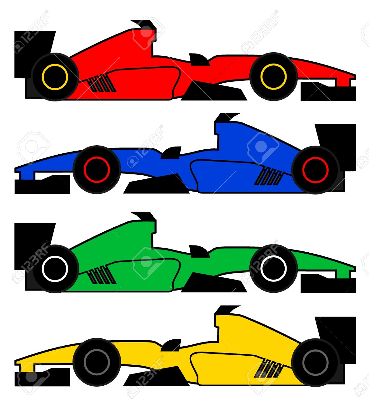- Four Color Racing Cars Royalty Free Cliparts, Vectors, And Stock