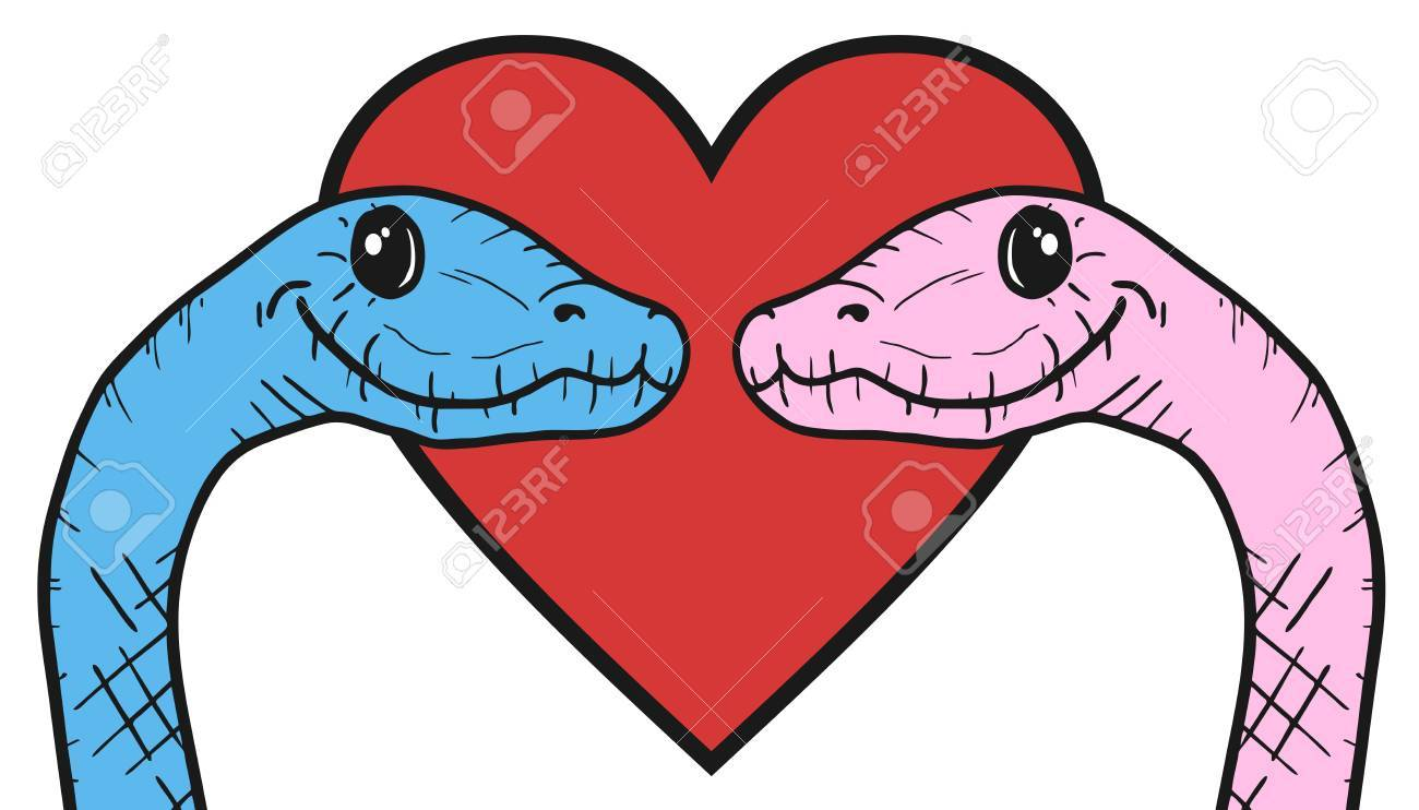 Snakes In Love - Color Illustration. Stock Photo, Picture And ...