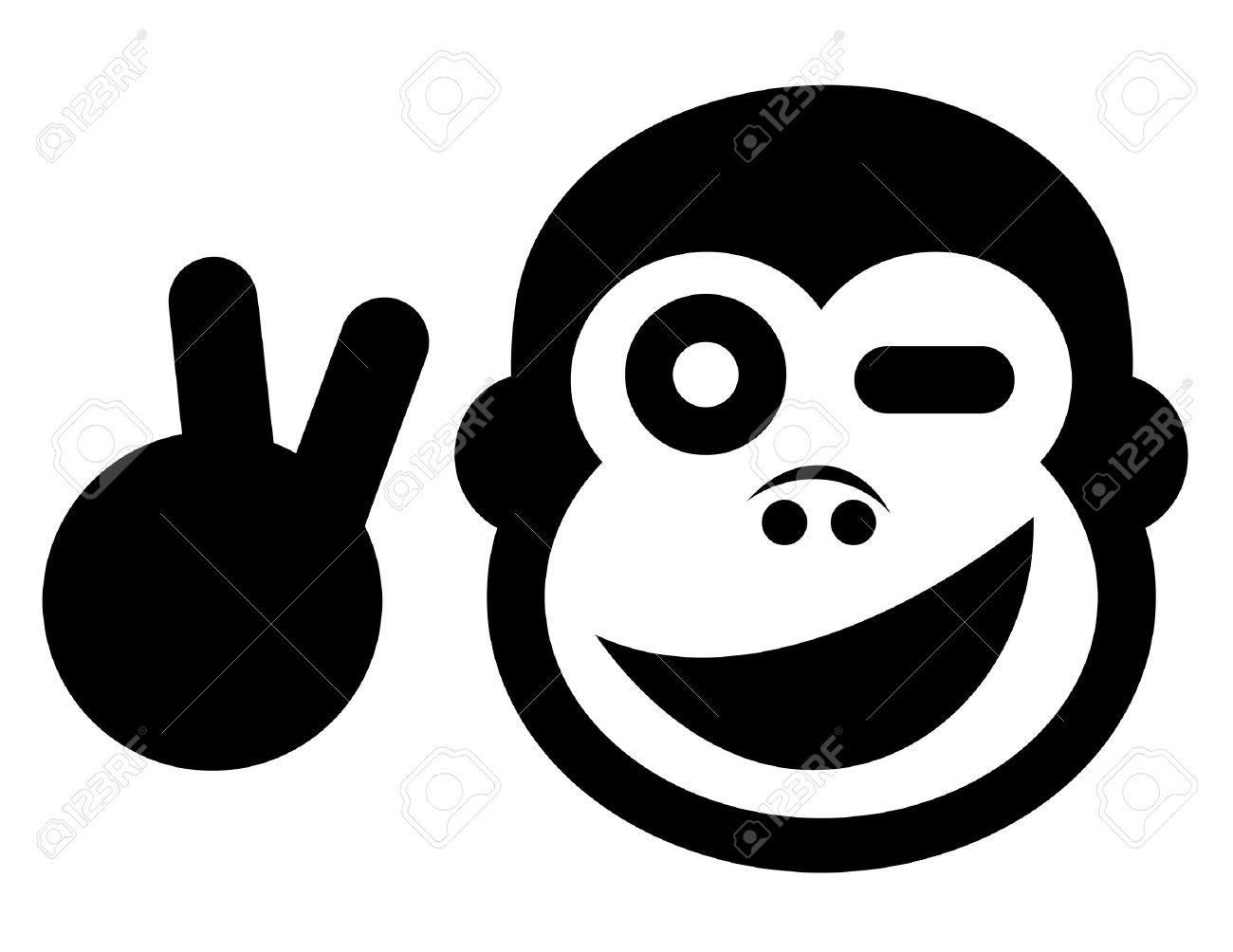 Happy Cartoon Gorilla Face Happy gorilla Vector