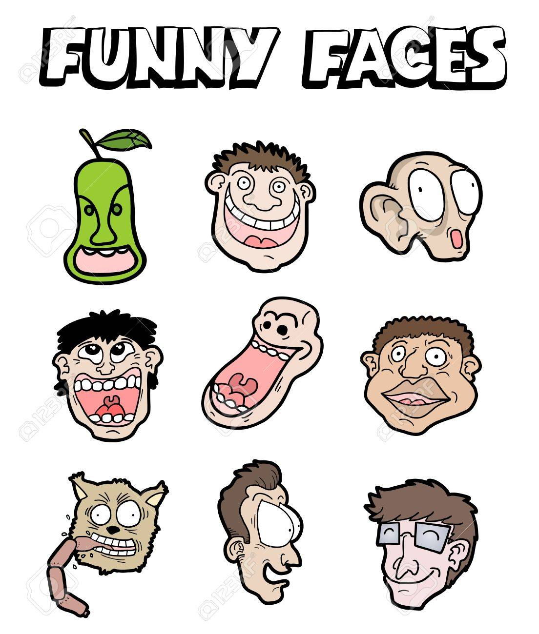 Funny faces Stock Vector - 19295962