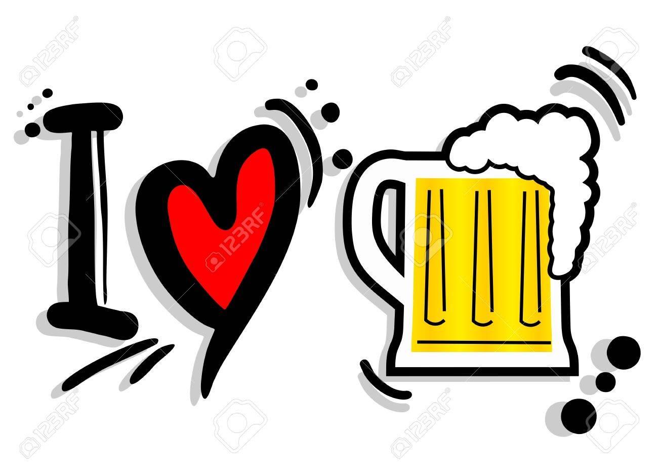 I love beer Stock Vector - 20139738