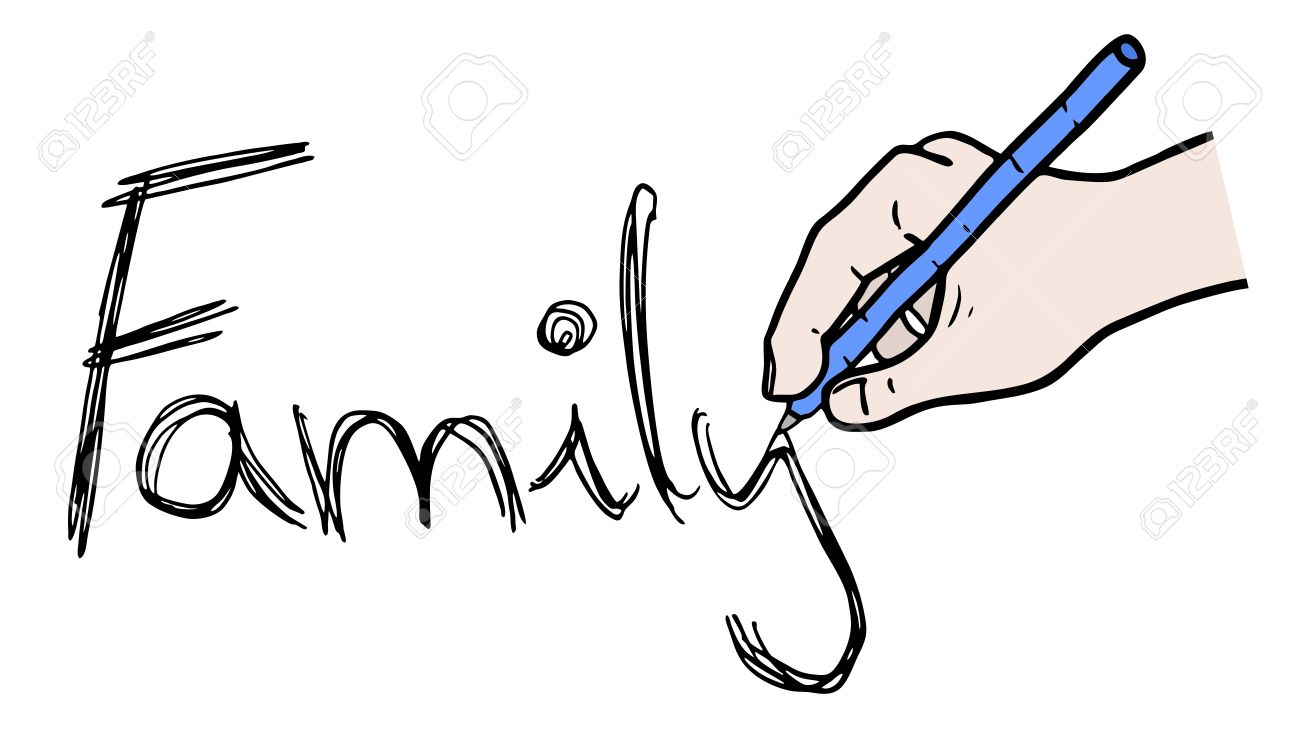family writte message royalty free cliparts vectors and stock