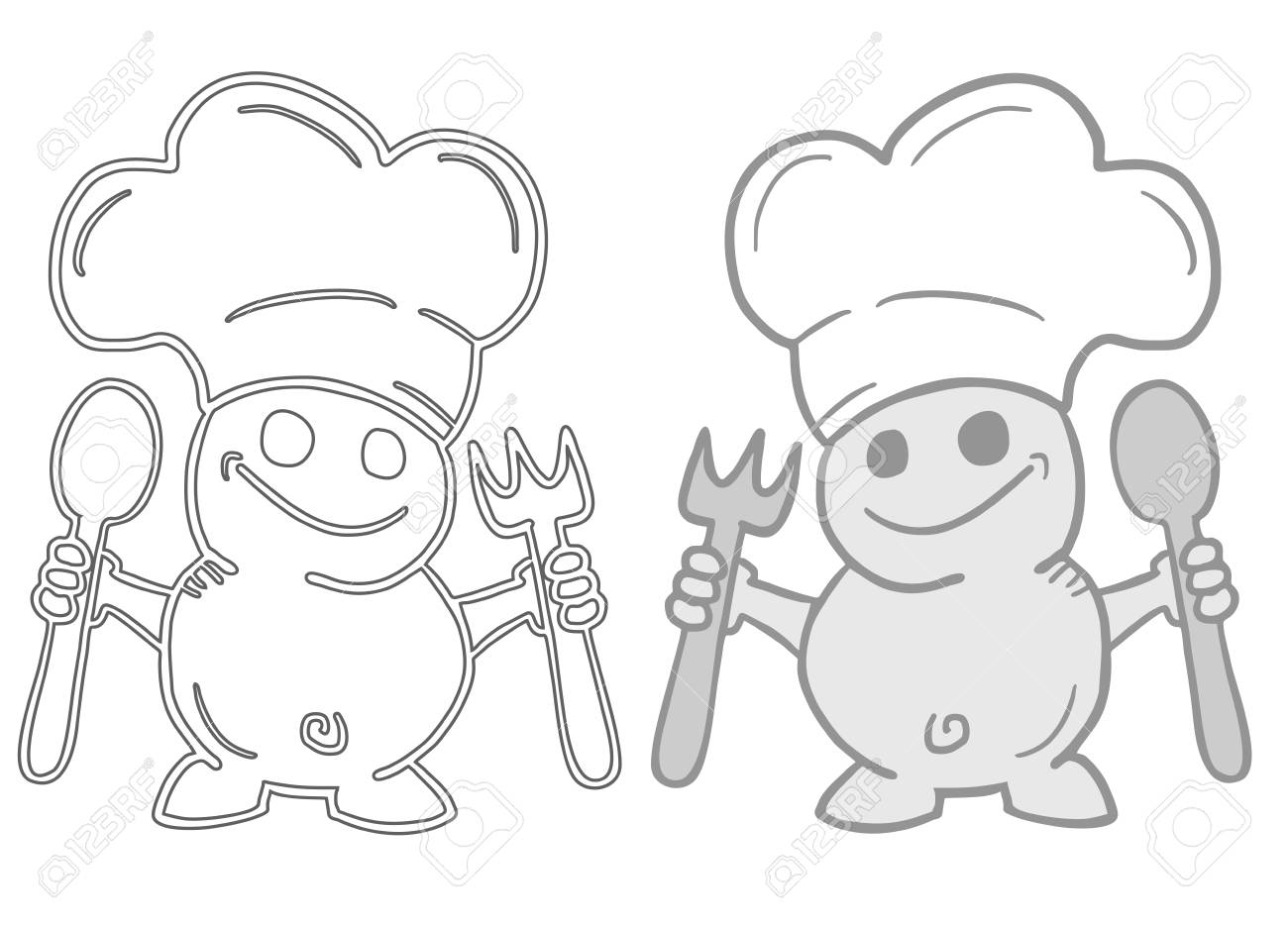 Funny chef couple Stock Vector - 22594692