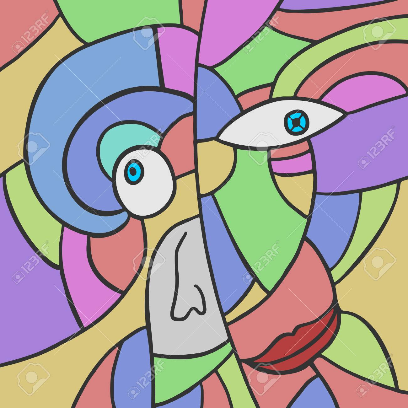 Abstract Color Face