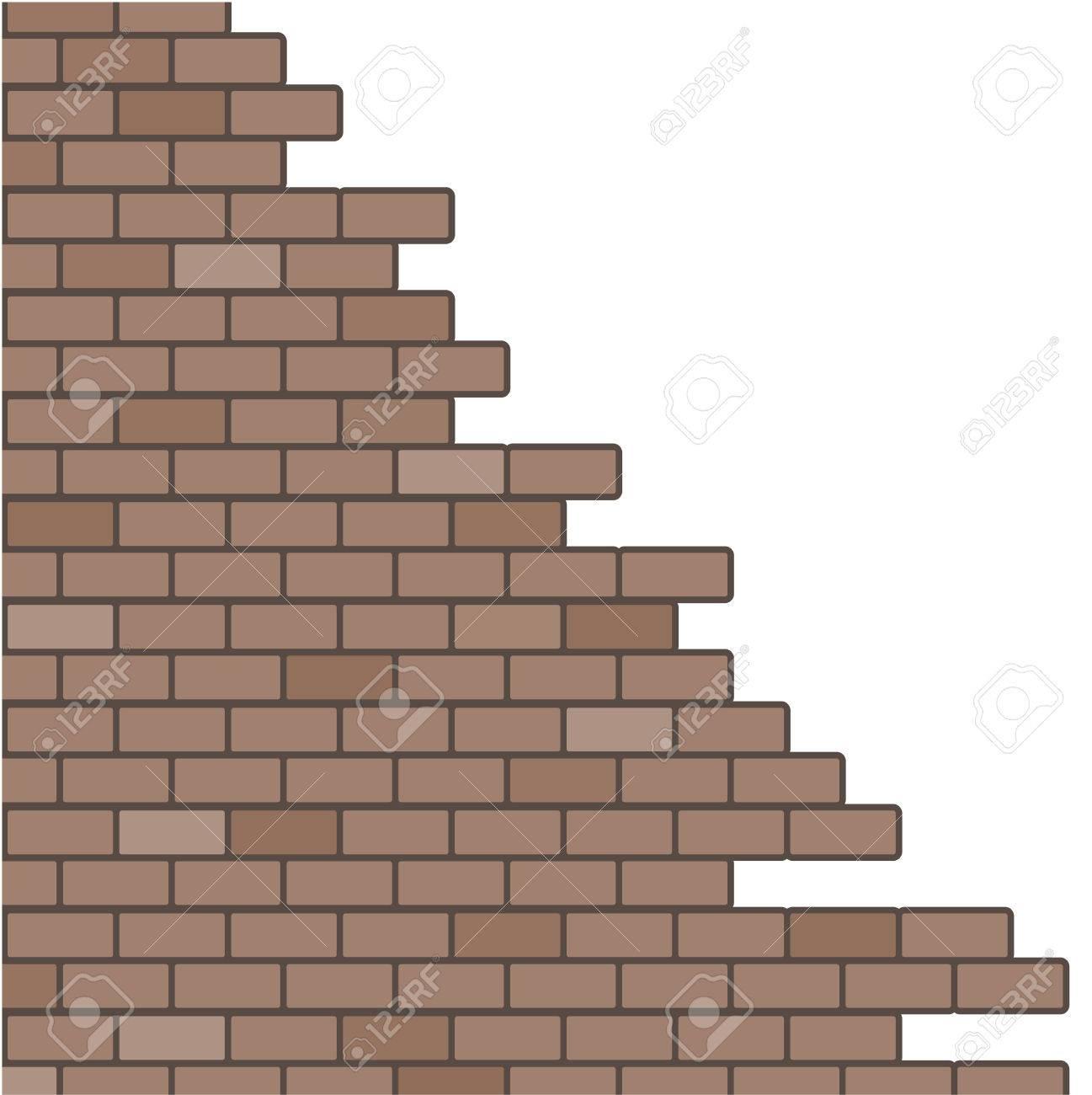 Broken Brick Wall Background Stock Vector