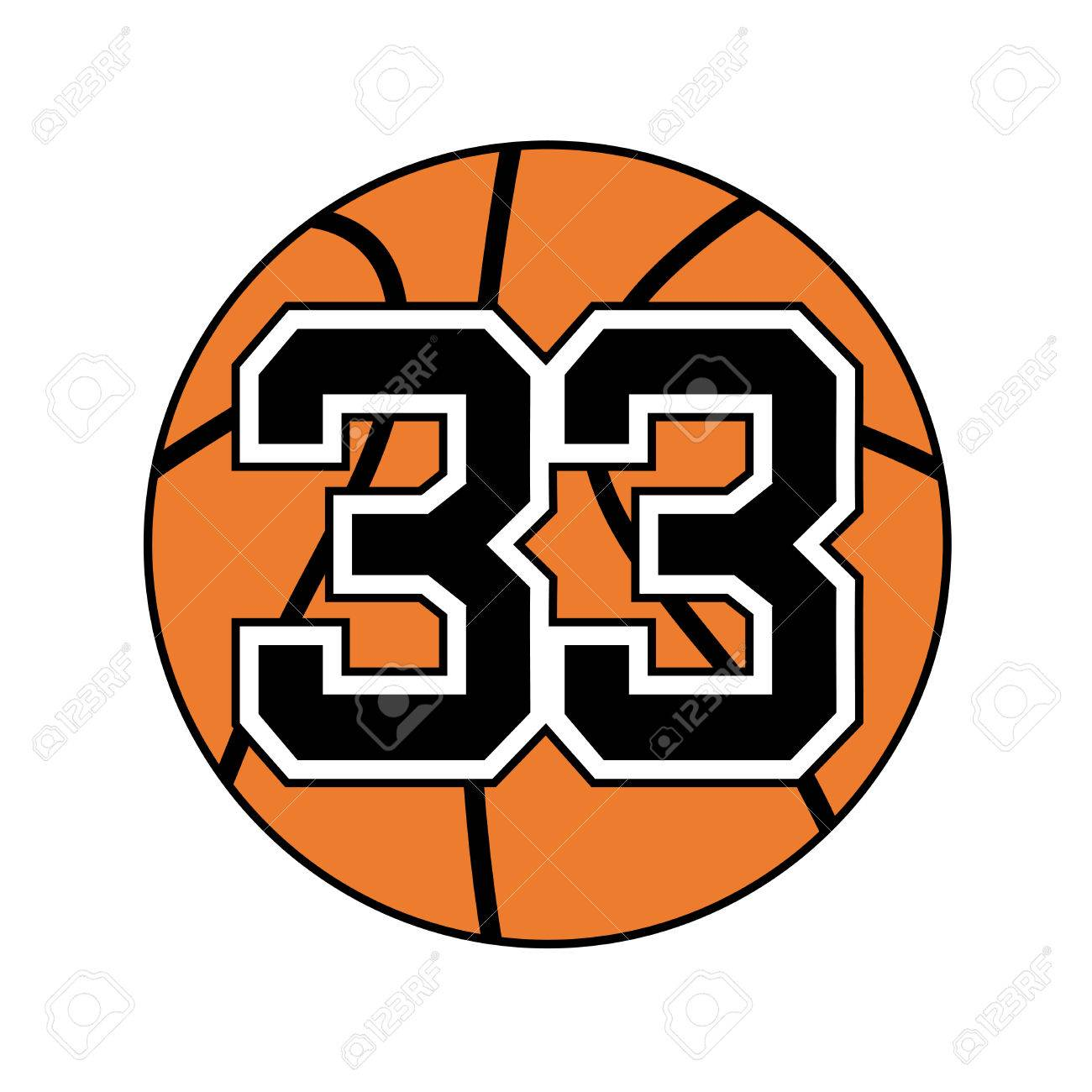 ball of basketball symbol with number 33 royalty free cliparts