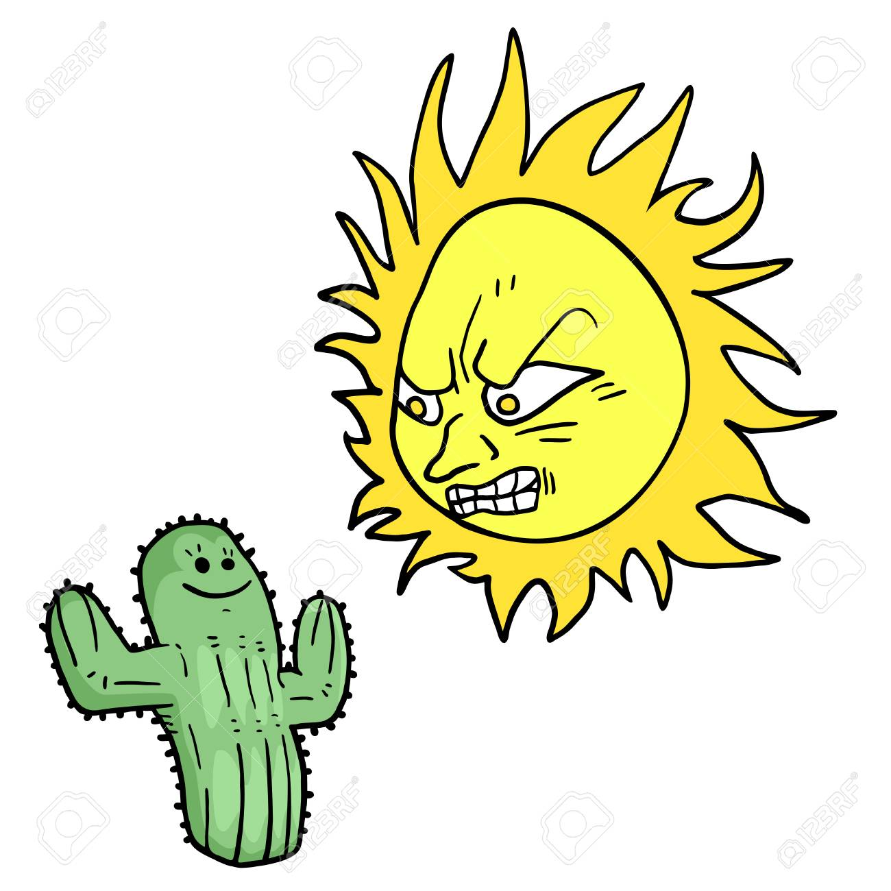 Angry Sun And Cactus Draw Royalty Free Cliparts Vectors And Stock
