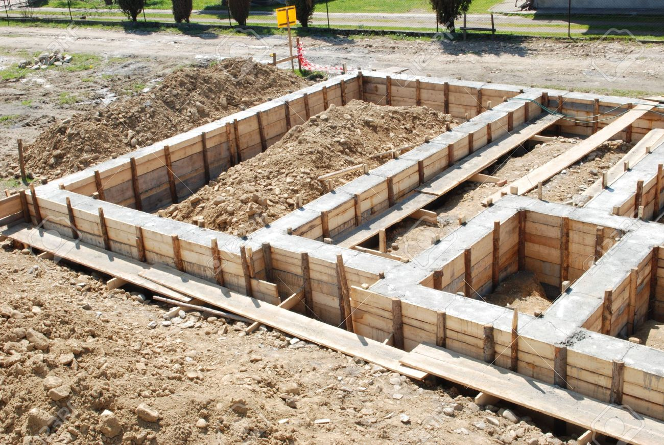 Building foundation concrete foundation of a house