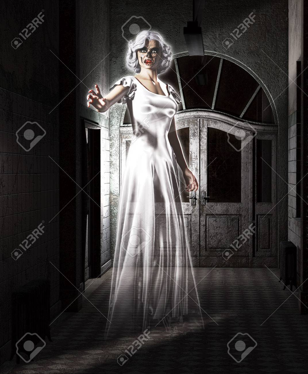 Female Ghost Floating In An Abandoned Insane Asylum Stock Photo Picture And Royalty Free Image Image 55111969