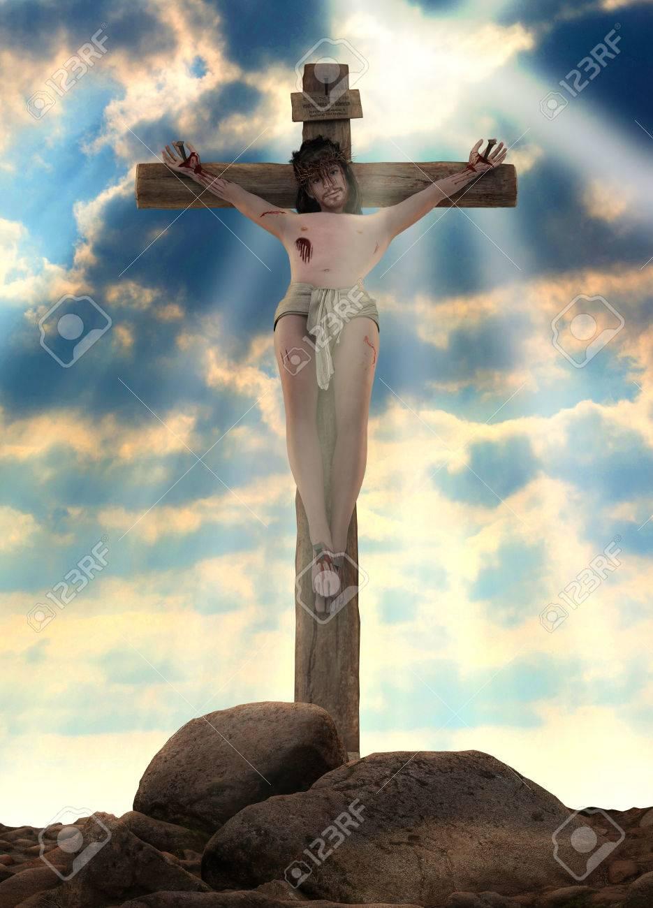 Representación 3d De La Crucifixión De Jesucristo En La Cruz Fotos