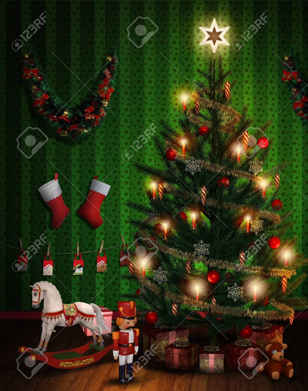 3d Render Of A Room With A Christmas Tree With Presents And