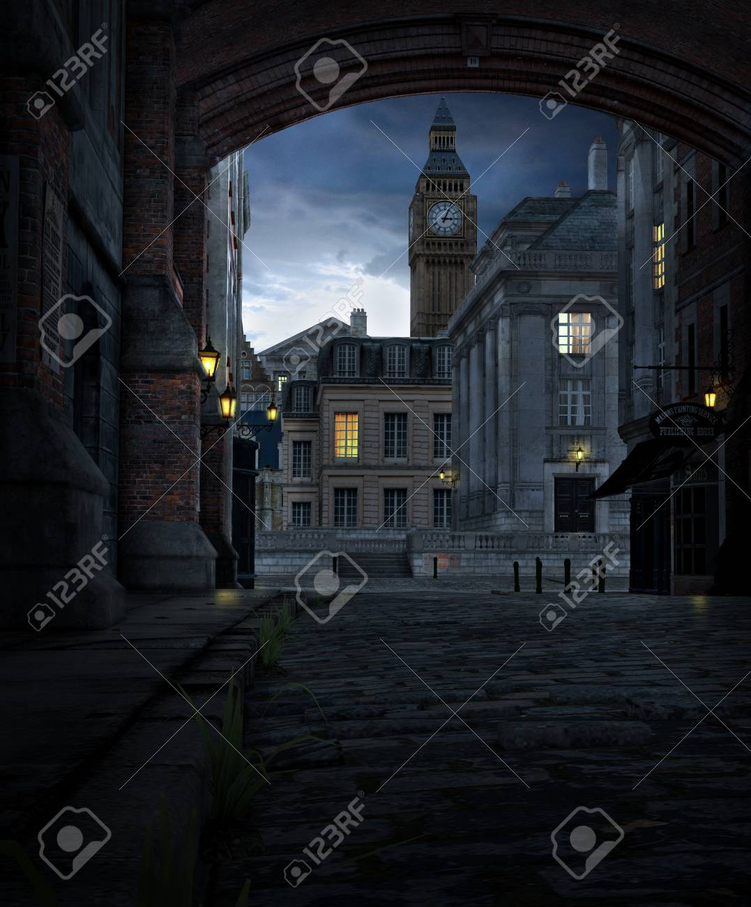 3D render of a London street scene at night with 19th century city buildings and Big Ben - 113374554