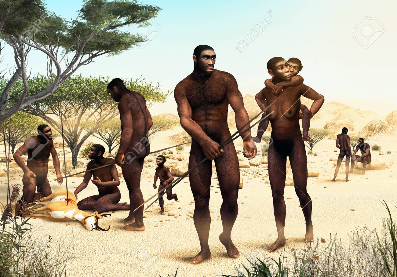 Homo Erectus tribe hunting, prehistoric ancestor of modern humans 1.8 million years ago, 3d render illustration - 144880255