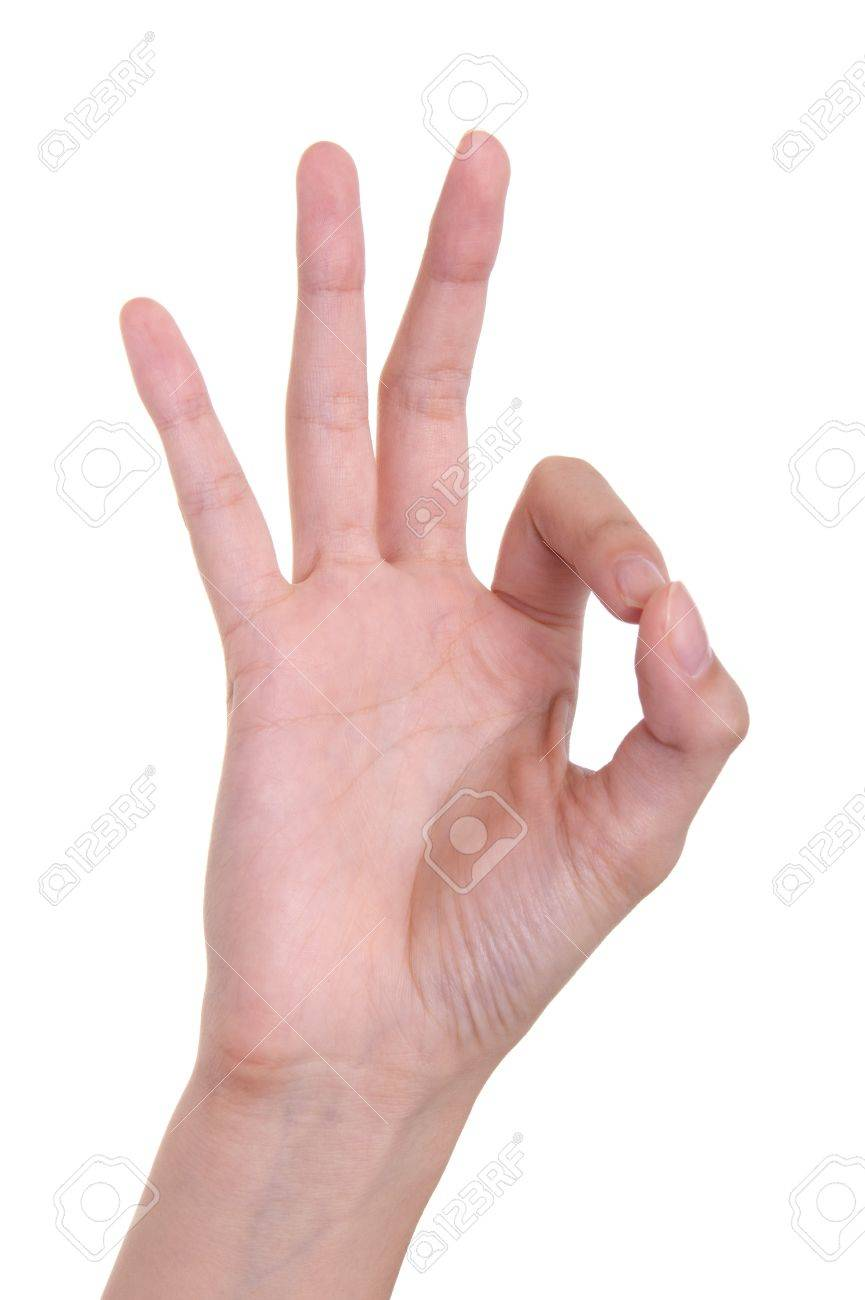 OK gesture of a hand on a white background Stock Photo - 7728490
