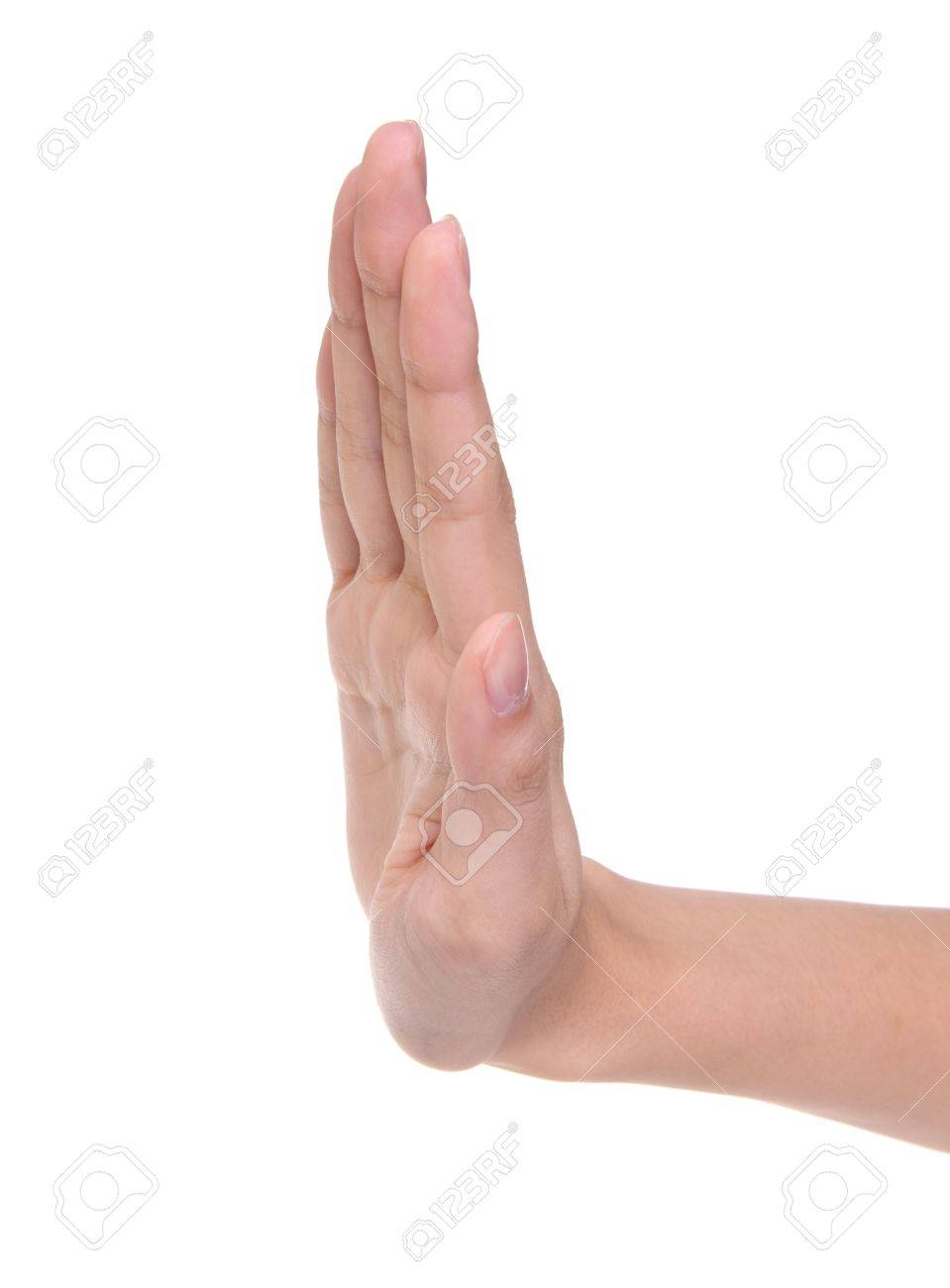 Forbidding gesture of a hand on a white background Stock Photo - 7728479