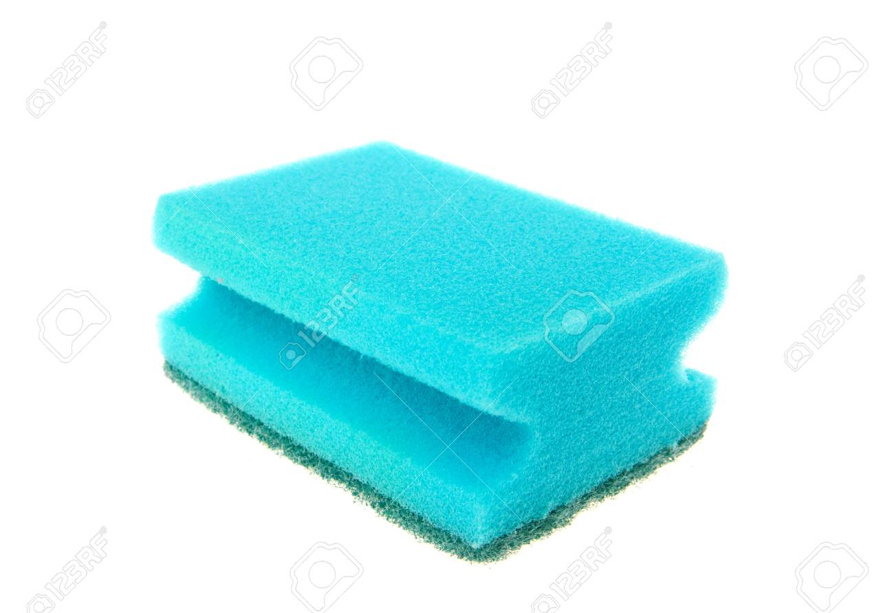Blue sponge for ware washing isolated on the white Stock Photo - 8065031