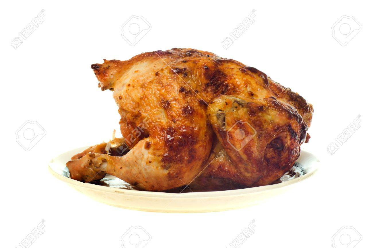 Roast chicken on a plate isolated on the white Stock Photo - 8595037